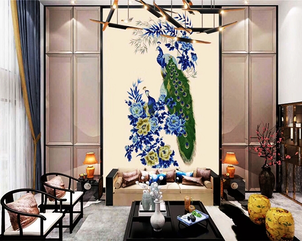 刺绣浮雕墙布