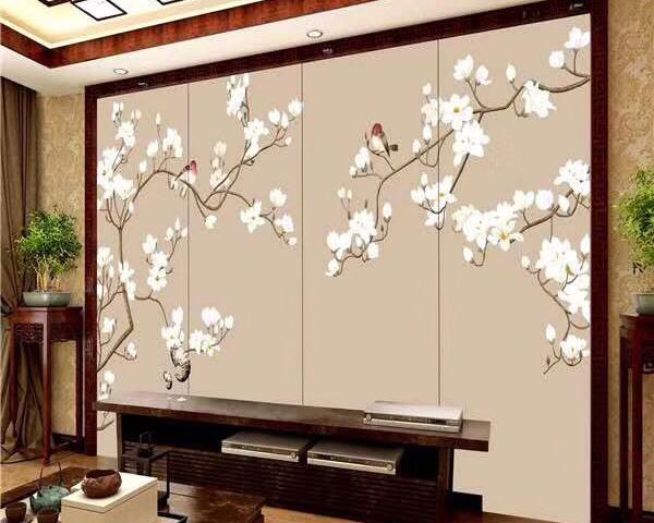 刺绣浮雕电视墙