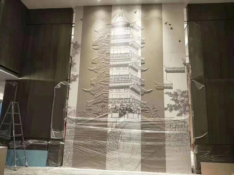 刺绣浮雕背景墙